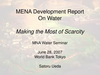 MENA Development Report  On Water  Making the Most of Scarcity