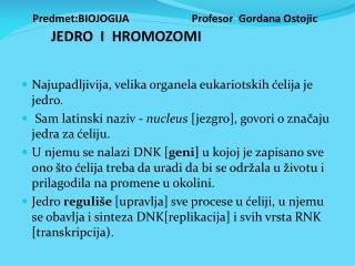 Predmet:BIOJOGIJA                  Profesor  Gordana Ostojic        JEDRO  I  HROMOZOMI
