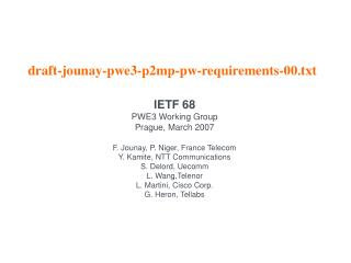 Draft-jounay-pwe3-p2mp-pw-requirements-00.txt