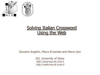 Solving Italian Crossword  Using the Web