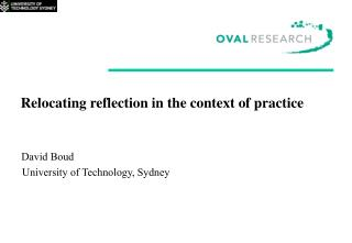 Relocating reflection in the context of practice    David Boud     University of Technology, Sydney