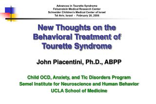 New Thoughts on the  Behavioral Treatment of Tourette Syndrome