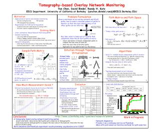 Tomography-based Overlay Network Monitoring Yan Chen, David Bindel, Randy H. Katz EECS Department, University of Califor