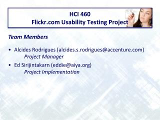 HCI 460 Flickr Usability Testing Project