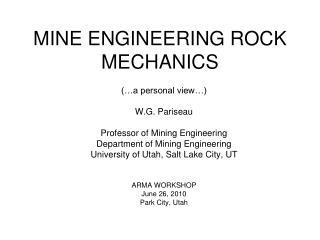 MINE ENGINEERING ROCK MECHANICS