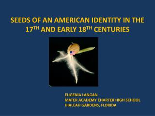 SEEDS OF AN AMERICAN IDENTITY IN THE 17TH AND EARLY 18TH CENTURIES