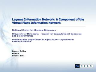 Legume Information Network: A Component of the Virtual Plant Information Network
