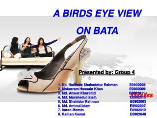 A BIRDS EYE VIEW  ON BATA