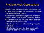 ProCard Audit Observations