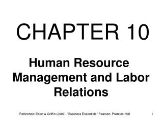 Human Resource Management and Labor Relations