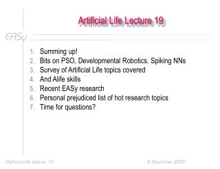 Artificial Life Lecture 19