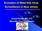 Evolution of West Nile Virus Surveillance in New Jersey