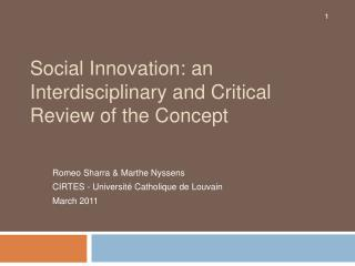 Social Innovation: an Interdisciplinary and Critical Review of the Concept