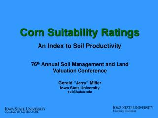 Corn Suitability Ratings An Index to Soil Productivity