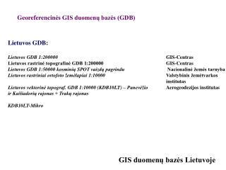 GIS duomenu bazes Lietuvoje
