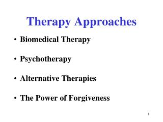 Therapy Approaches