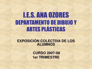 I.E.S. ANA OZORES DEPARTAMENTO DE DIBUJO Y ARTES PL STICAS