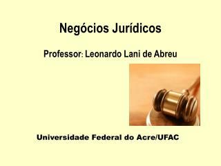 Neg cios Jur dicos  Professor: Leonardo Lani de Abreu