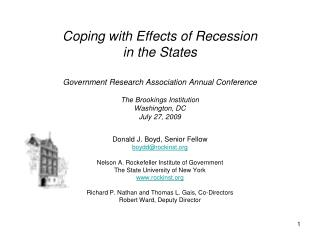 Coping with Effects of Recession in the States