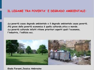 IL LEGAME TRA POVERTA E DEGRADO AMBIENTALE: