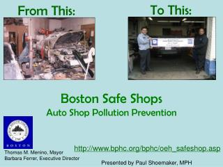 Boston Safe Shops Auto Shop Pollution Prevention