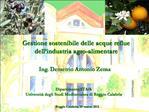 Gestione sostenibile delle acque reflue dell industria agro-alimentare