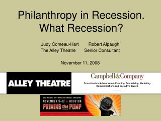 Philanthropy in Recession. What Recession