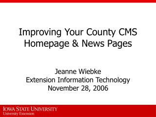 Improving Your County CMS Homepage  News Pages