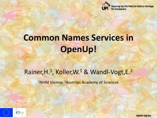 Common Names Services in OpenUp