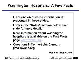 Washington Hospitals:  A Few Facts