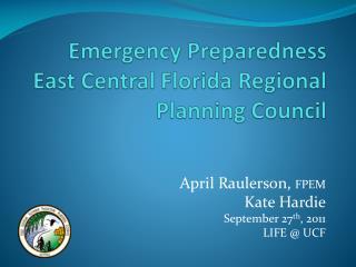 Emergency Preparedness  East Central Florida Regional Planning Council