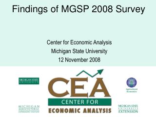 Findings of MGSP 2008 Survey