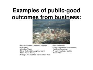 Examples of public-good outcomes from business: