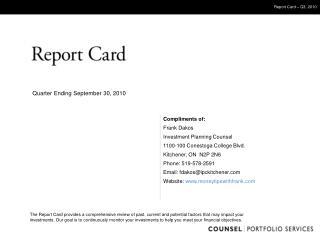 Report Card   Q3, 2010