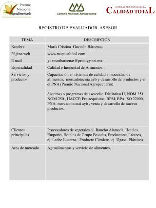 REGISTRO DE EVALUADOR  ASESOR
