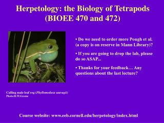 Herpetology: the Biology of Tetrapods BIOEE 470 and 472