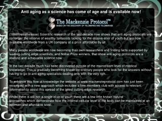 Anti aging as a science has come of age and is available now