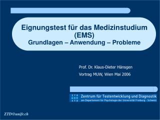 Eignungstest f r das Medizinstudium EMS  Grundlagen   Anwendung   Probleme