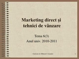Marketing direct si  tehnici de v nzare