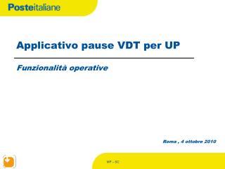 Applicativo pause VDT per UP  Funzionalit  operative