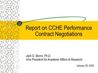 Report on CCHE Performance Contract Negotiations