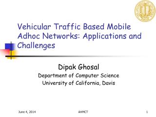Vehicular Traffic Based Mobile Adhoc Networks: Applications and Challenges