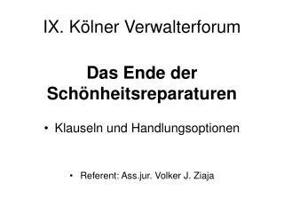 IX. K lner Verwalterforum