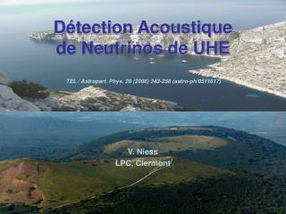 D tection Acoustique de Neutrinos de UHE