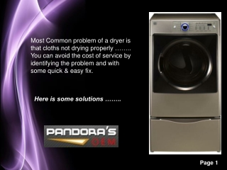 Kenmore Dryer problems and Solutions