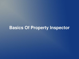 Basics Of Property Inspector
