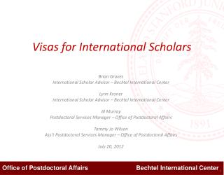 Visas for International Scholars