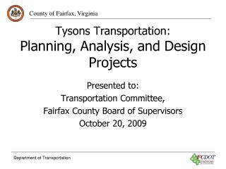 Tysons Transportation: Planning, Analysis, and Design Projects