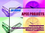 All about                         APEC PROJECTS                                       Pakpong Apinyanunt      Department