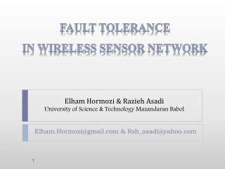 Elham Hormozi  Razieh Asadi University of Science  Technology Mazandaran Babol